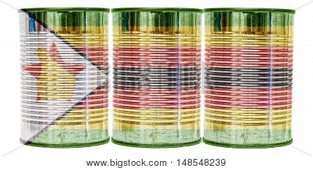 Three tin cans with the flag of Zimbabwe on them isolated on a white background.