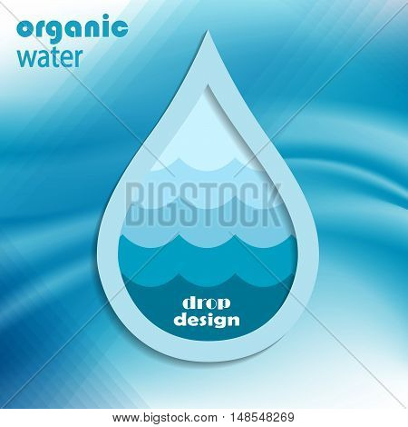 abstract background with water drops on blue, vector.