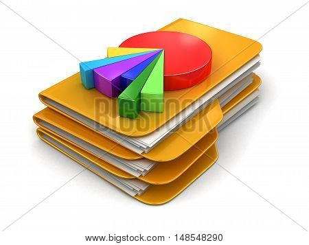 3D Illustration. Folders and files with Pie Chart. Image with clipping path