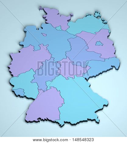 Germany 3D Europe cartography dimensional digital map provinces