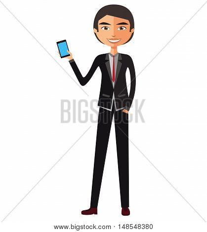 Businessman on the phone flat cartoon vector illustration. Eps10. Isolated on a white background.