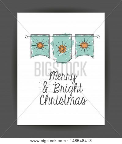 Pennant inside frame icon. Merry Christmas season and decoration theme. Sketch and draw design. Vector illustration