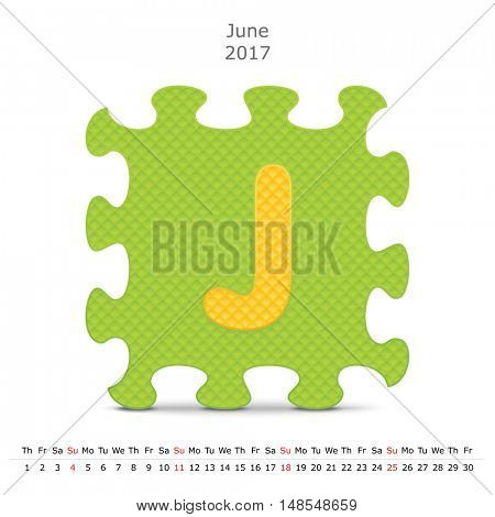 June 2017 puzzle calendar - vector illustration