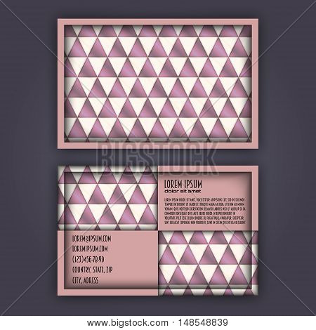Business Card Template With 3D Paper Colorful Triangle Texture