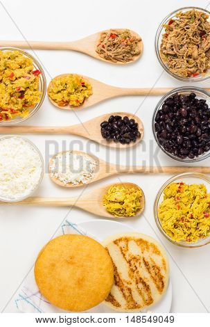Venezuelan typical food arepas and their different combinations. Chicken fish meat cheese black beans and pork.