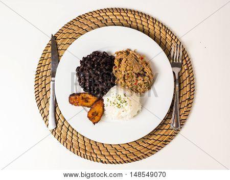 Pabellon criollo dish Venezuelan typical food .
