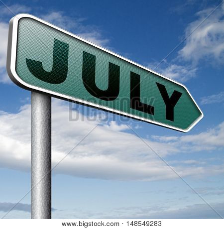 July summer month of the year  or event schedule or agenda  3D, illustration