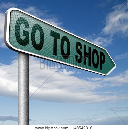 Shop now sign go to the online webshop , internet web shopping  3D, illustration