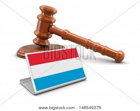 3D Illustration. 3d wooden mallet and Luxembourg flag. Image with clipping path