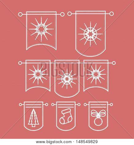 Pennants icon. Merry Christmas season and decoration theme. Vector illustration