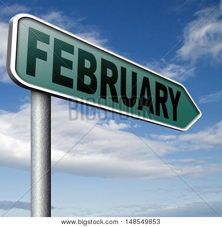 February cold next winter month schedule and calender 3D, illustration
