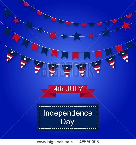 Happy Independence Day banner. Color background with a garland from American flags. American Independence Day celebration poster, vector illustration.
