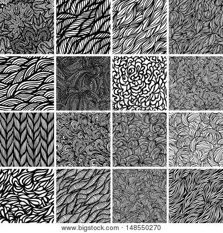 Big set of black and white wave patterns. Seamless pattern background.
