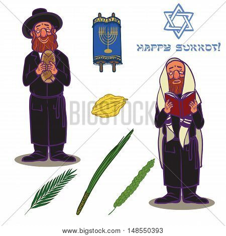 Judaism church traditional symbols icons set and jewish symbols isolated vector illustration. Jewish symbols traditional torah shofar and jewish symbols holiday sukkot religious design.
