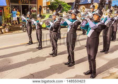 Phuket Thailand - Aug 26 2016 : Parade of various schools in Phuket province on opening ceremony of yearly provincial sport.