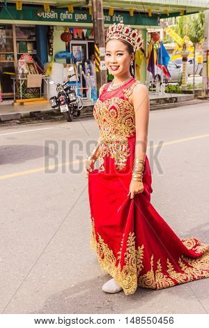 Phuket Thailand - Aug 26 2016 : Unidentified beautiful girl as leader of parade of various schools in Phuket province on opening ceremony of yearly provincial sport.