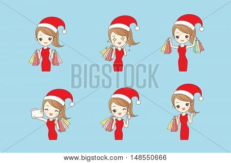 cartoon woman shopping happily in winter with christmas hat