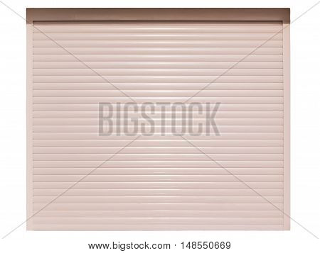 Automatic roller shutter door isolated on white background
