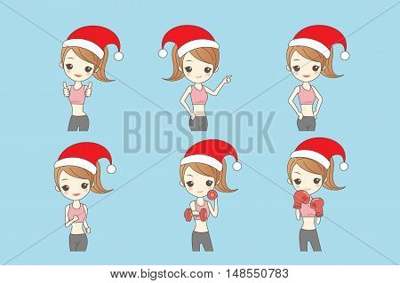 christmas cartoon girl in fitness show dumbbell to you