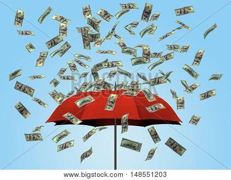 Umbrella and dollar bills 3D money notes currency