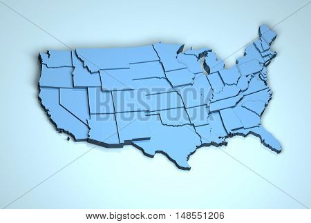 USA 3D America US geographical location digitally generated