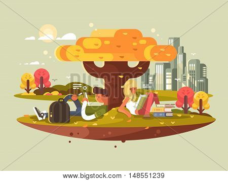 Students studying in park. A guy and girl reading while sitting under tree. Vector illustration