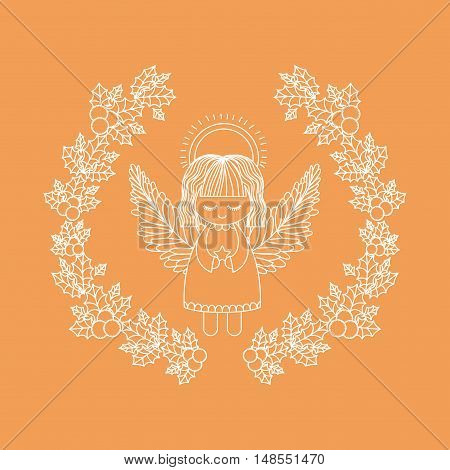 angel inside ornament and rustic leaf crown icon. Merry Christmas season and decoration theme. Vector illustration
