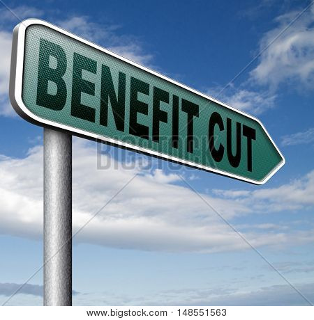 Benefit cuts tax cut on housing child and social works reduce spending 3D, illustration