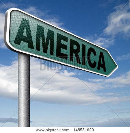 America north america or south and central america travel vacation and tourism road trip trough continent road sign 3D, illustration