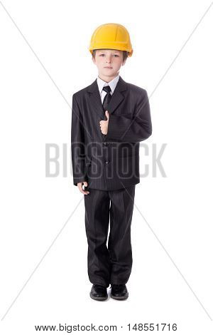 Little Boy In Business Suit And Builder's Helmet Isolated On White