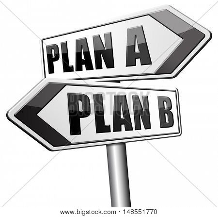 plan a plan b backup plan or alternative option 3D, illustration