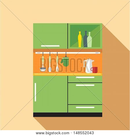 Digital vector picture green and orange kitchen set, flat style