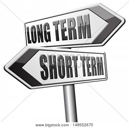 long term short term strategy planning or thinking plan and think ahead for the near and far future 3D, illustration