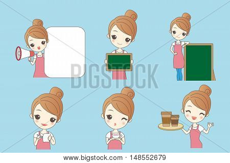 Cartoon beautiful young woman is a waitress