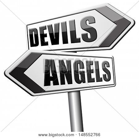 devils and angels good or bad heaven and hell road sign arrow 3D, illustration
