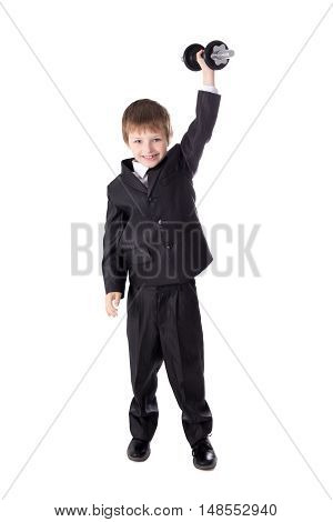 Hard Work And Success Concept - Cute Little Boy In Business Suit With Dumbbell Isolated On White