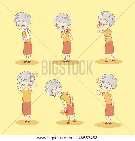 cartoon old woman has different problem great for your design