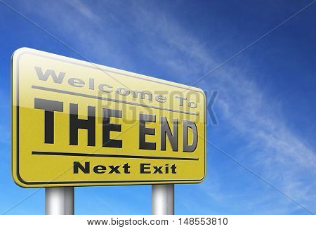 the end road sign to finish point way out 3D, illustration