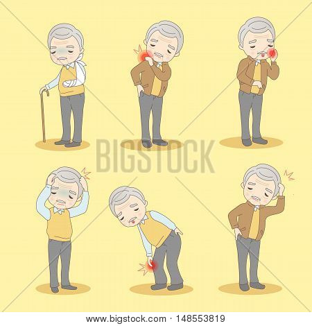 cartoon old man has different problem great for your design