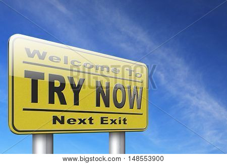 Try now road sign free trial product promotion 3D, illustration