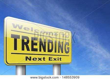 trending now in fashion business latest trends that are popular now, road sign billboard. 3D, illustration