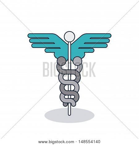 Caduceus icon. Medical and health care theme. Colorful and isolated design. Vector illustration
