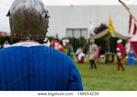 Knight In Battle With Silver Helmets And Shield