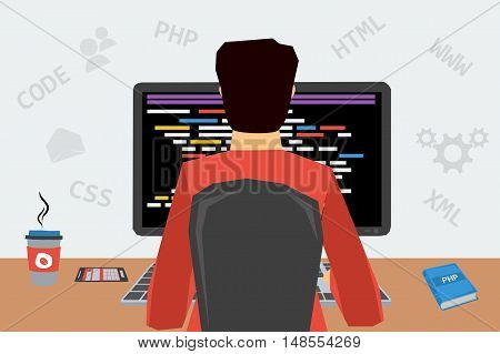 Man programs on computer with black monitor and drinking coffee. Vector concept work at home, freelance, programmer job in flat style. Web infographics. Back view