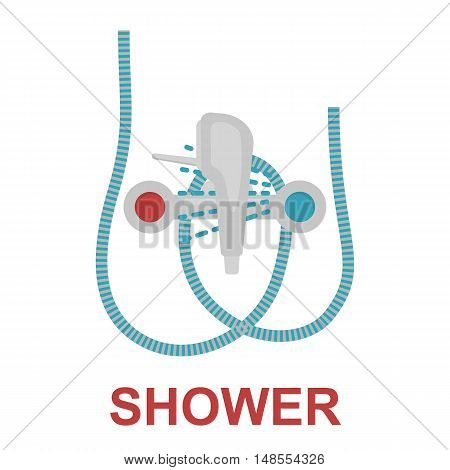 Shower head with water drops icon cartoon. Single silhouette plumbing symbol.