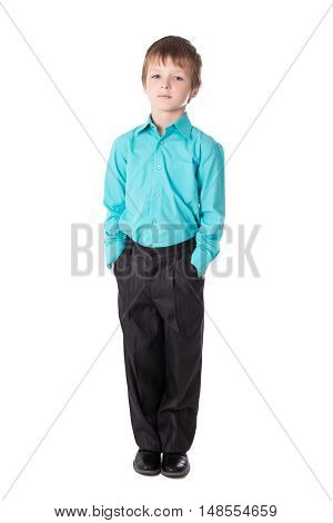 Little Boy In Business Suit Standing Isolated On White