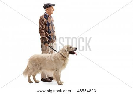 Full length portrait of an elderly man and his dog isolated on white background