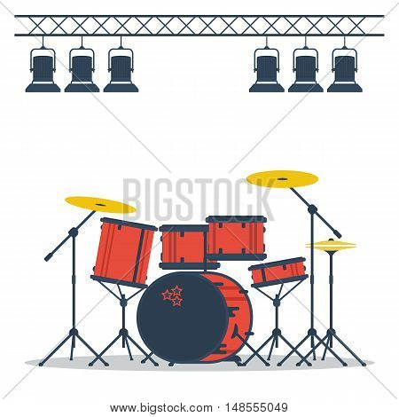 Vector flat colored drum set on stage isolated on white. Concept musical instruments
