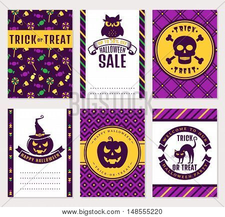 Happy Halloween! Collection of colorful banners. Sale party invitation trick-or-treat and greeting cards. Vector set.