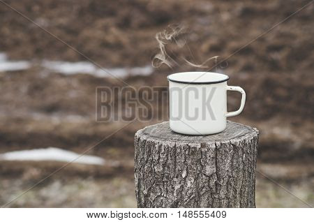 Hot Drink Outdoors On A Cold Winter Day